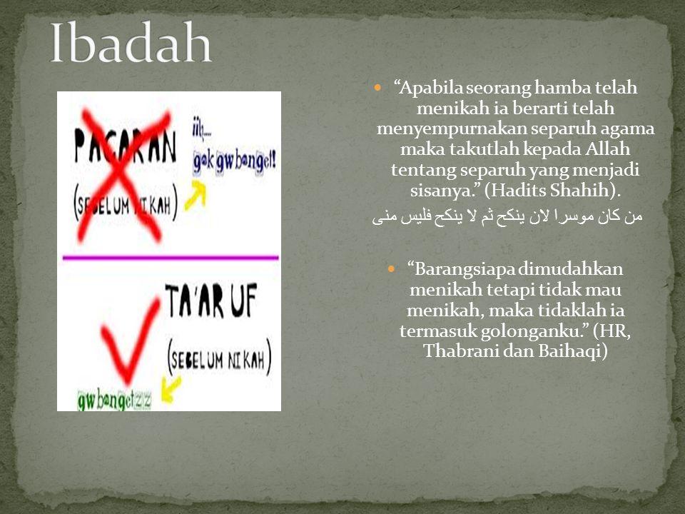 Visi pernikahan dalam Islam adalah menimba banyak pahala melalui aktivitas berumah tangga.
