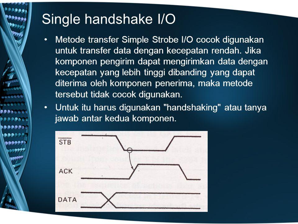 Single handshake I/O Metode transfer Simple Strobe I/O cocok digunakan untuk transfer data dengan kecepatan rendah.