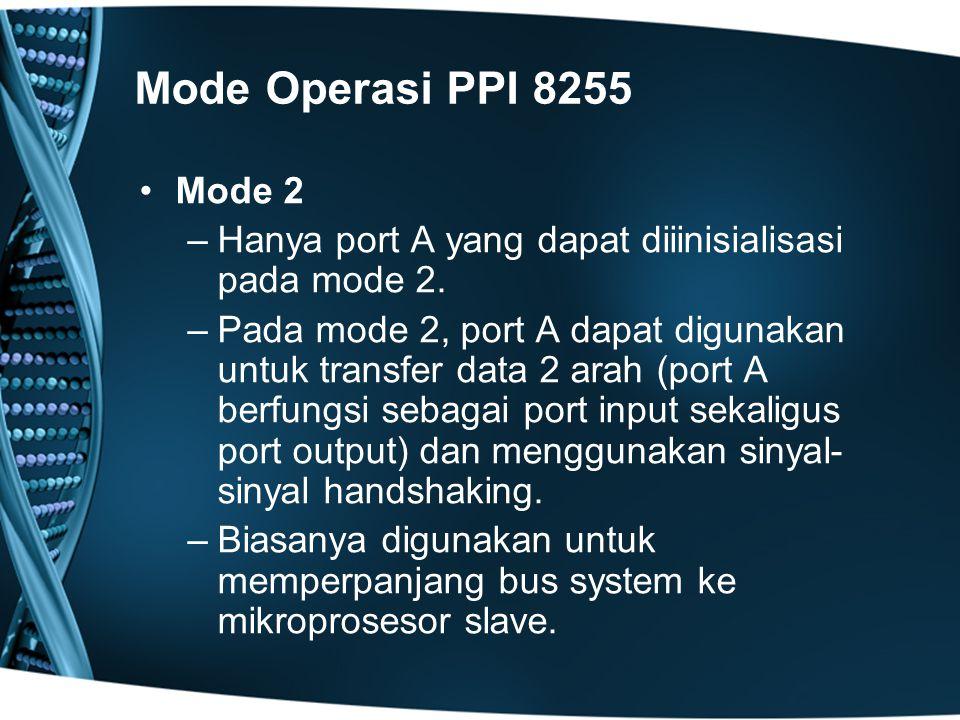 Mode Operasi PPI 8255 Mode 2 –Hanya port A yang dapat diiinisialisasi pada mode 2.