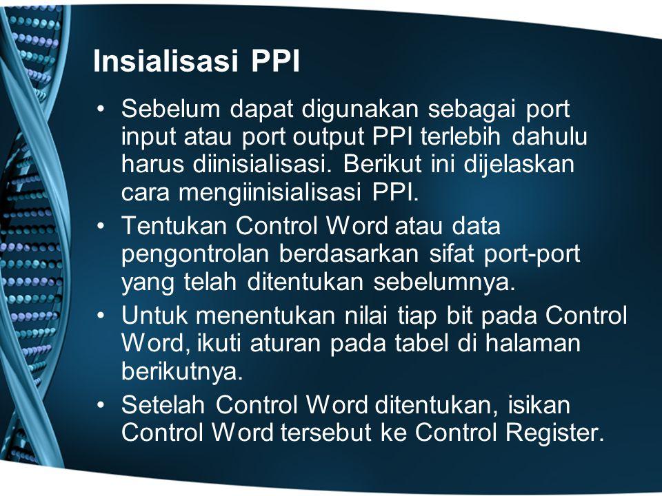 Insialisasi PPI Sebelum dapat digunakan sebagai port input atau port output PPI terlebih dahulu harus diinisialisasi.