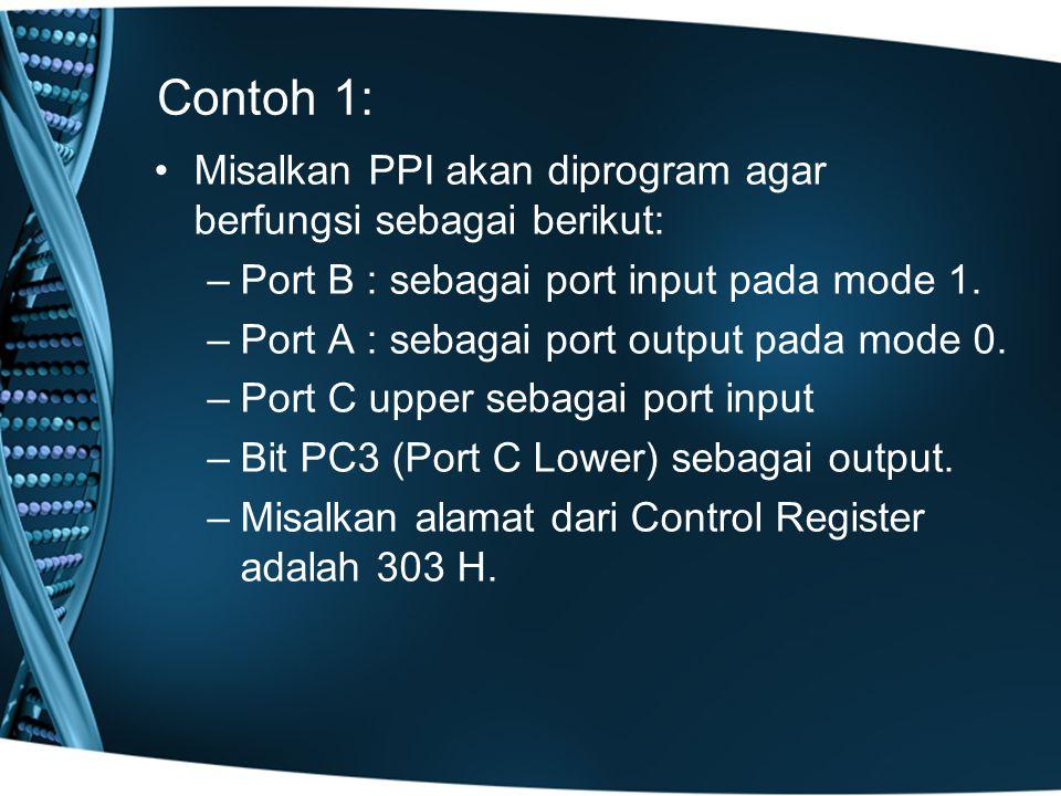 Contoh 1: Misalkan PPI akan diprogram agar berfungsi sebagai berikut: –Port B : sebagai port input pada mode 1.