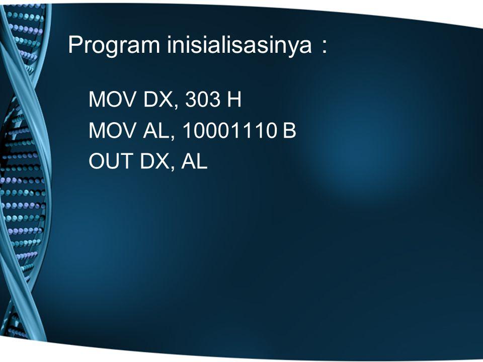 Program inisialisasinya : MOV DX, 303 H MOV AL, 10001110 B OUT DX, AL