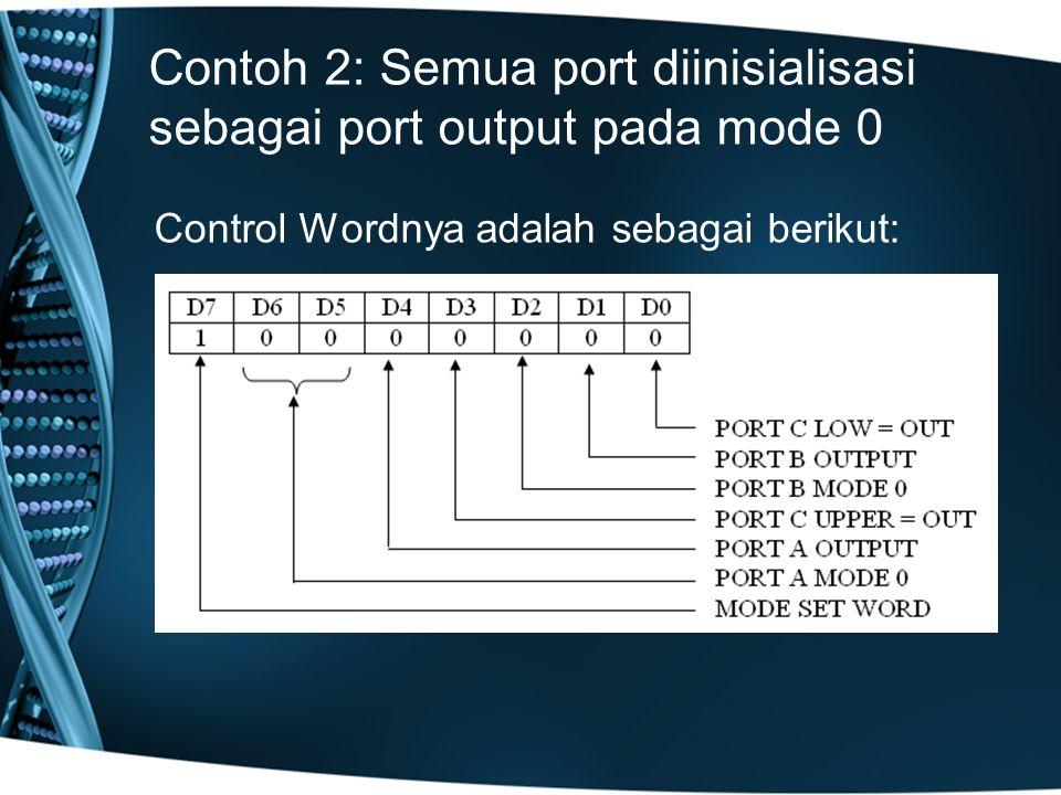Contoh 2: Semua port diinisialisasi sebagai port output pada mode 0 Control Wordnya adalah sebagai berikut: