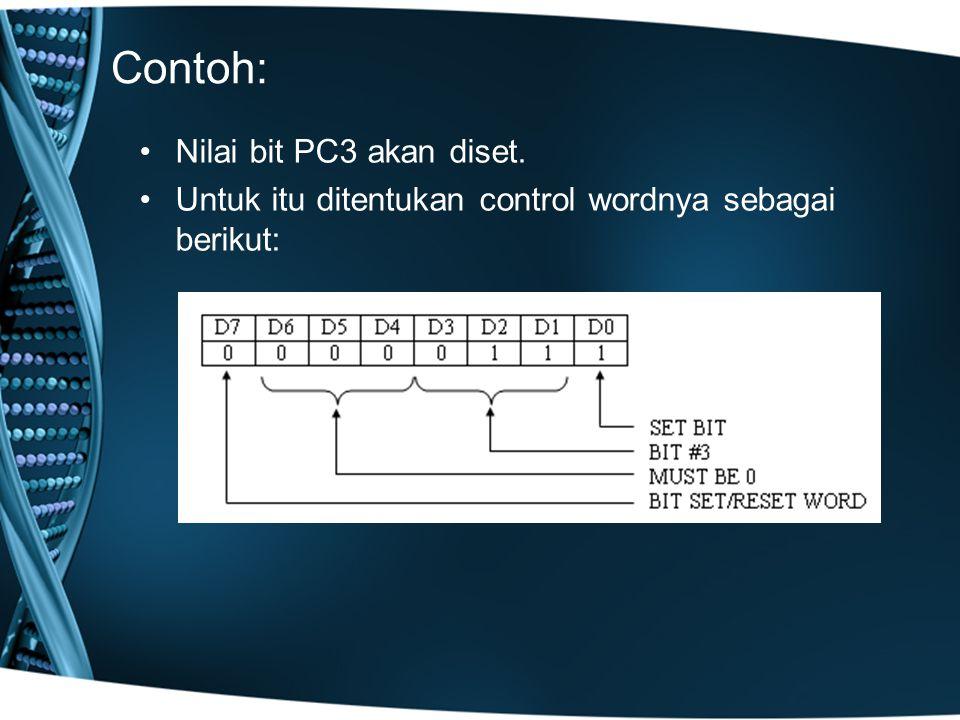 Contoh: Nilai bit PC3 akan diset. Untuk itu ditentukan control wordnya sebagai berikut: