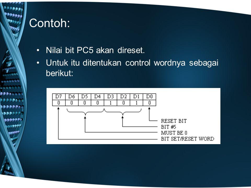 Contoh: Nilai bit PC5 akan direset. Untuk itu ditentukan control wordnya sebagai berikut:
