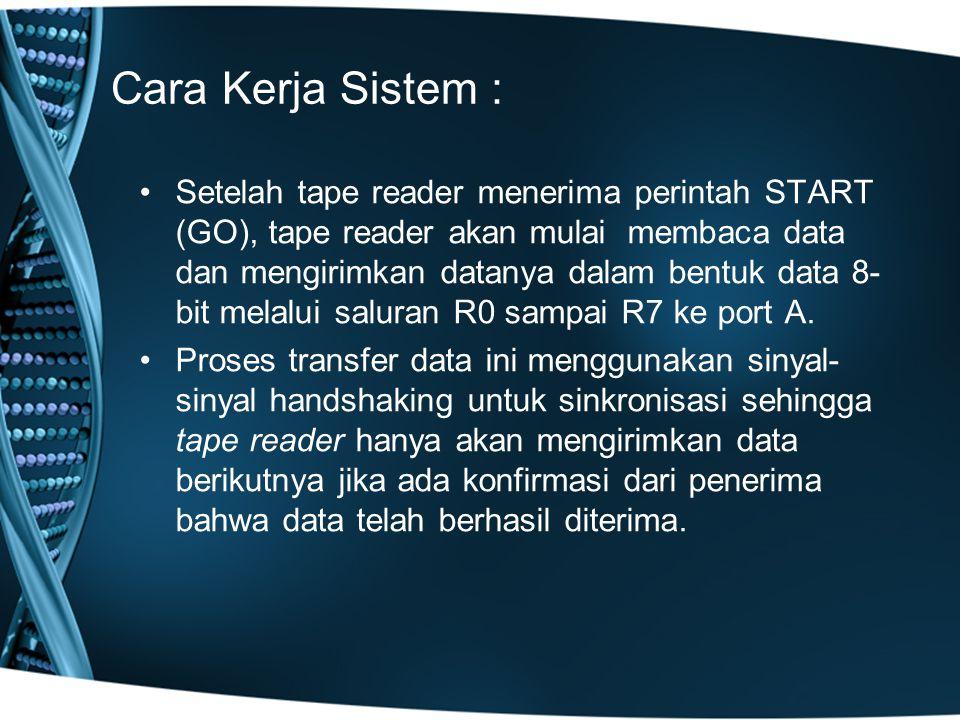 Cara Kerja Sistem : Setelah tape reader menerima perintah START (GO), tape reader akan mulai membaca data dan mengirimkan datanya dalam bentuk data 8- bit melalui saluran R0 sampai R7 ke port A.