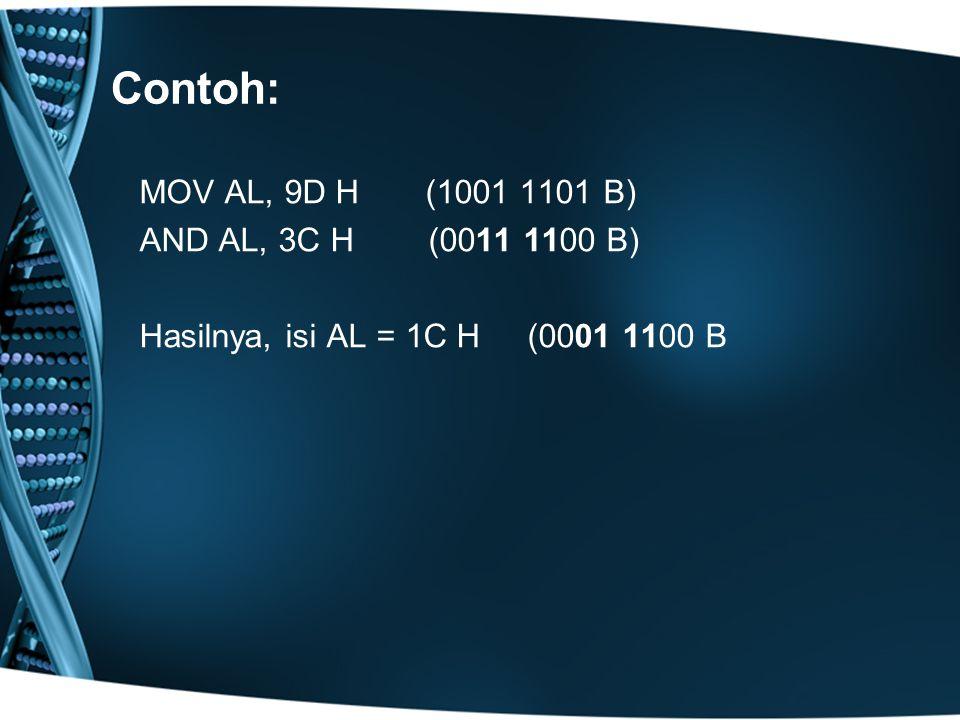 Contoh: MOV AL, 9D H (1001 1101 B) AND AL, 3C H (0011 1100 B) Hasilnya, isi AL = 1C H (0001 1100 B