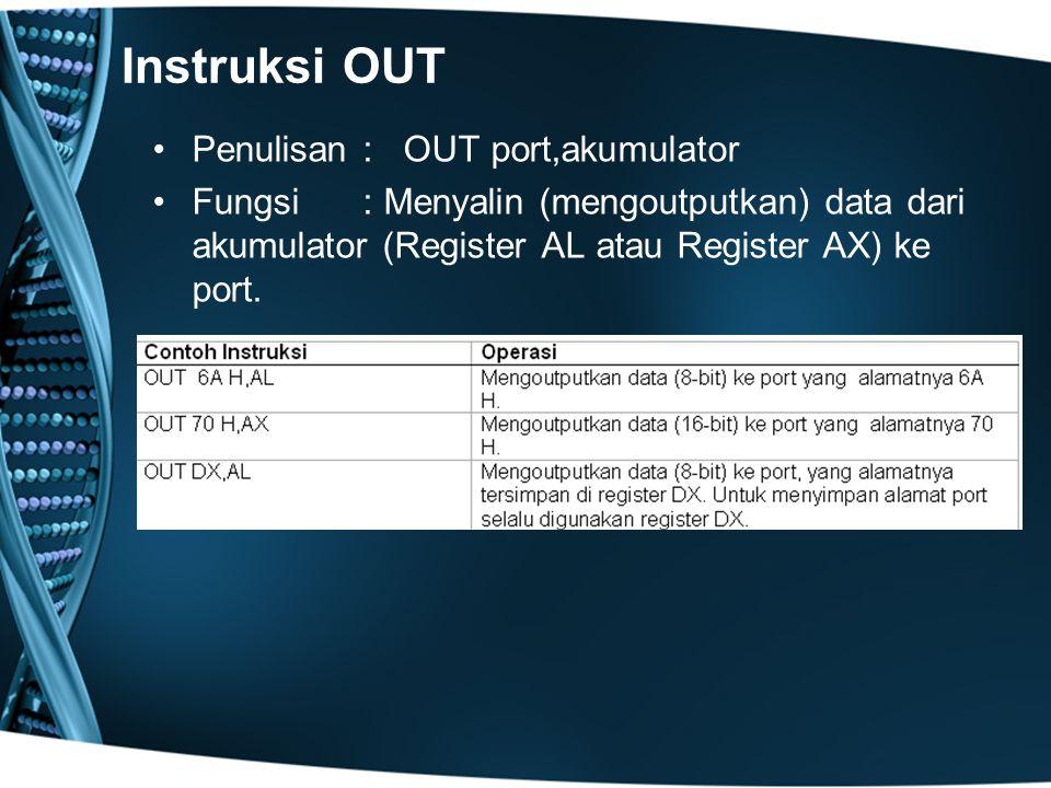 Instruksi OUT Penulisan: OUT port,akumulator Fungsi : Menyalin (mengoutputkan) data dari akumulator (Register AL atau Register AX) ke port.