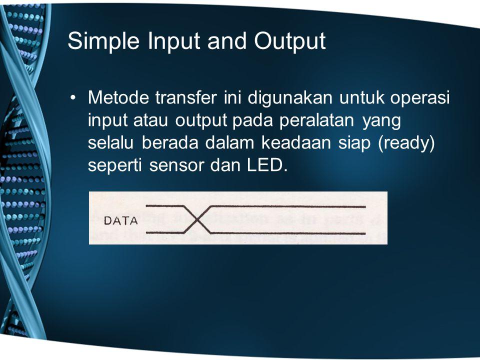 Simple Strobe I/O Pada periperal tertentu, data hanya tersedia pada waktu tertentu saja.
