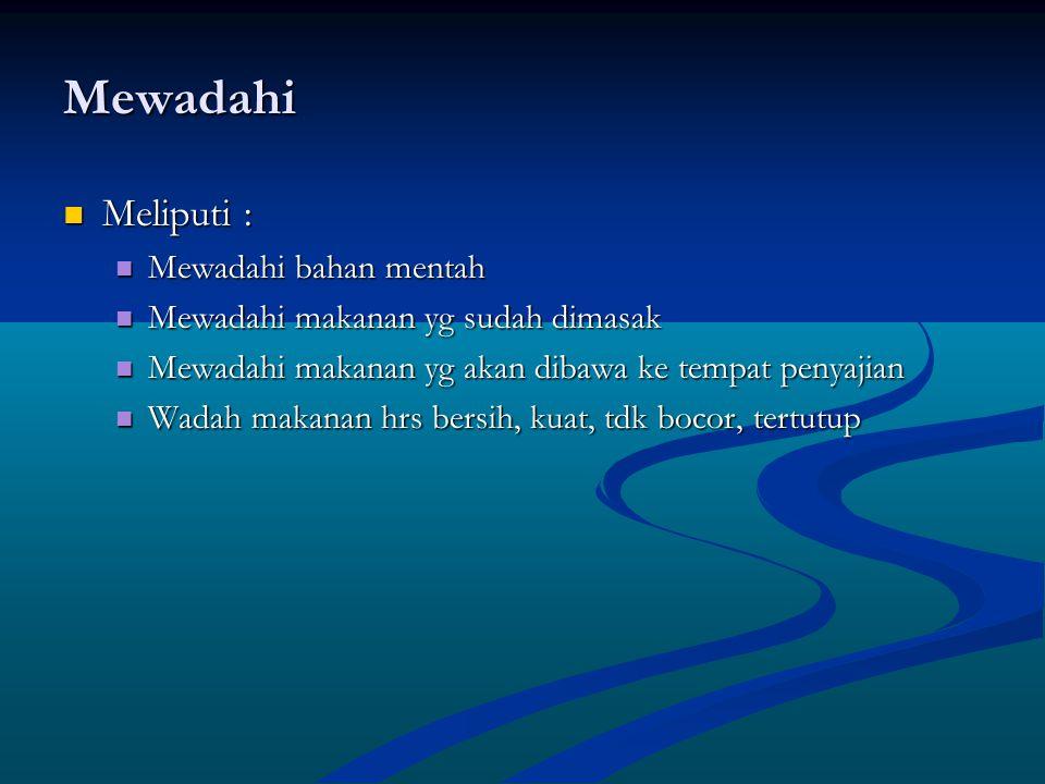 Mewadahi Meliputi : Meliputi : Mewadahi bahan mentah Mewadahi bahan mentah Mewadahi makanan yg sudah dimasak Mewadahi makanan yg sudah dimasak Mewadah