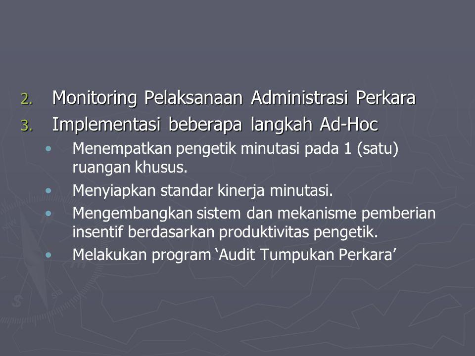 2. Monitoring Pelaksanaan Administrasi Perkara 3. Implementasi beberapa langkah Ad-Hoc Menempatkan pengetik minutasi pada 1 (satu) ruangan khusus. Men