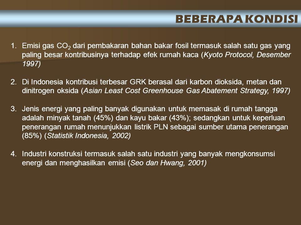 1.Emisi gas CO 2 dari pembakaran bahan bakar fosil termasuk salah satu gas yang paling besar kontribusinya terhadap efek rumah kaca (Kyoto Protocol, Desember 1997) 2.Di Indonesia kontribusi terbesar GRK berasal dari karbon dioksida, metan dan dinitrogen oksida (Asian Least Cost Greenhouse Gas Abatement Strategy, 1997) 3.Jenis energi yang paling banyak digunakan untuk memasak di rumah tangga adalah minyak tanah (45%) dan kayu bakar (43%); sedangkan untuk keperluan penerangan rumah menunjukkan listrik PLN sebagai sumber utama penerangan (85%) (Statistik Indonesia, 2002) 4.Industri konstruksi termasuk salah satu industri yang banyak mengkonsumsi energi dan menghasilkan emisi (Seo dan Hwang, 2001) BEBERAPA KONDISI