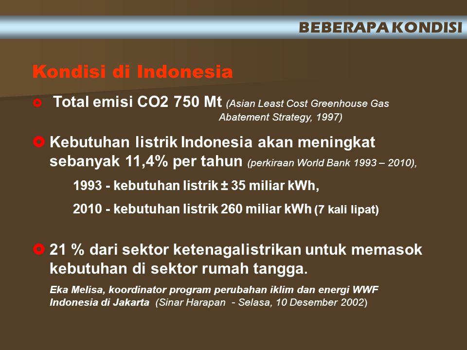 Kondisi di Indonesia  Total emisi CO2 750 Mt (Asian Least Cost Greenhouse Gas Abatement Strategy, 1997)  Kebutuhan listrik Indonesia akan meningkat sebanyak 11,4% per tahun (perkiraan World Bank 1993 – 2010), 1993 - kebutuhan listrik ± 35 miliar kWh, 2010 - kebutuhan listrik 260 miliar kWh (7 kali lipat)  21 % dari sektor ketenagalistrikan untuk memasok kebutuhan di sektor rumah tangga.