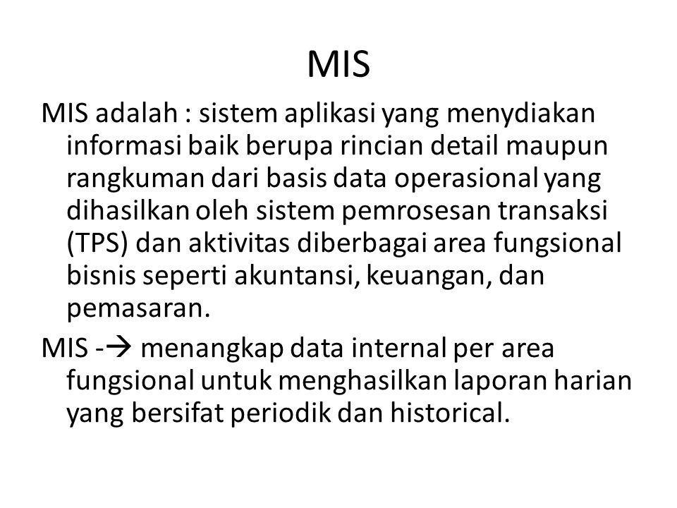 MIS MIS adalah : sistem aplikasi yang menydiakan informasi baik berupa rincian detail maupun rangkuman dari basis data operasional yang dihasilkan oleh sistem pemrosesan transaksi (TPS) dan aktivitas diberbagai area fungsional bisnis seperti akuntansi, keuangan, dan pemasaran.