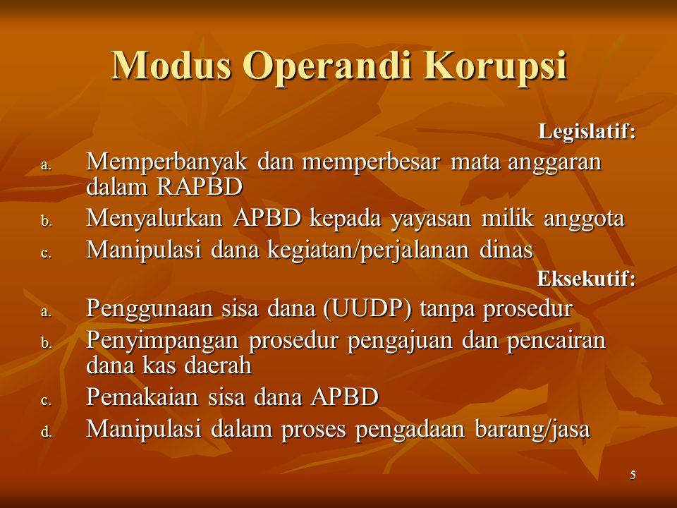 5 Modus Operandi Korupsi Legislatif: a. Memperbanyak dan memperbesar mata anggaran dalam RAPBD b.
