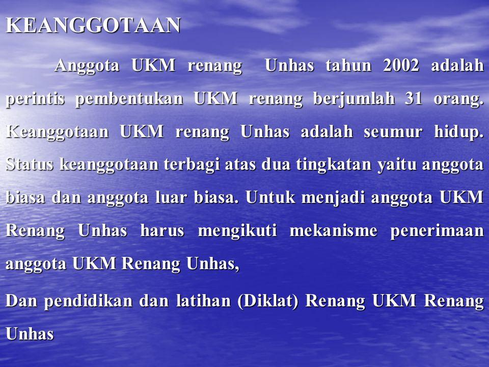 KEANGGOTAAN Anggota UKM renang Unhas tahun 2002 adalah perintis pembentukan UKM renang berjumlah 31 orang.