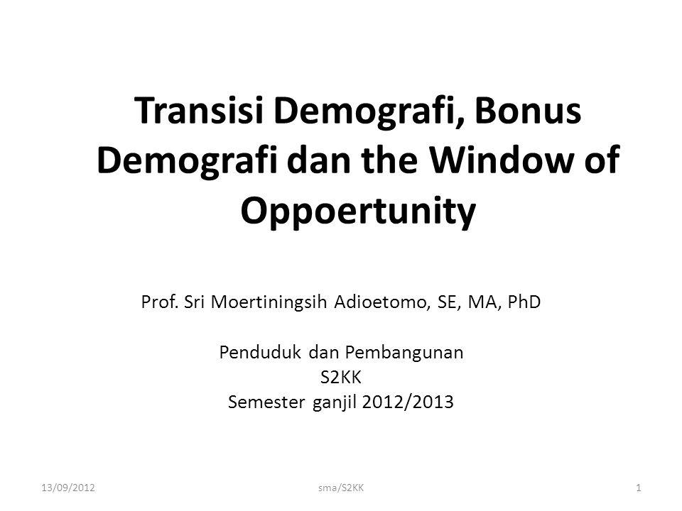 Transisi Demografi, Bonus Demografi dan the Window of Oppoertunity Prof. Sri Moertiningsih Adioetomo, SE, MA, PhD Penduduk dan Pembangunan S2KK Semest