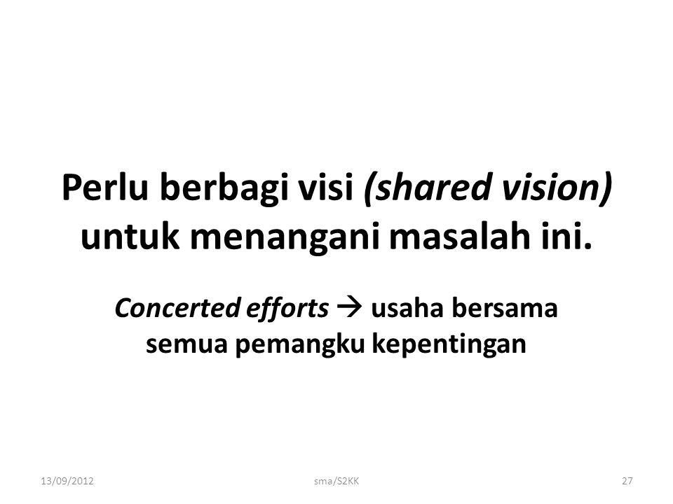 Perlu berbagi visi (shared vision) untuk menangani masalah ini. Concerted efforts  usaha bersama semua pemangku kepentingan 13/09/2012sma/S2KK27