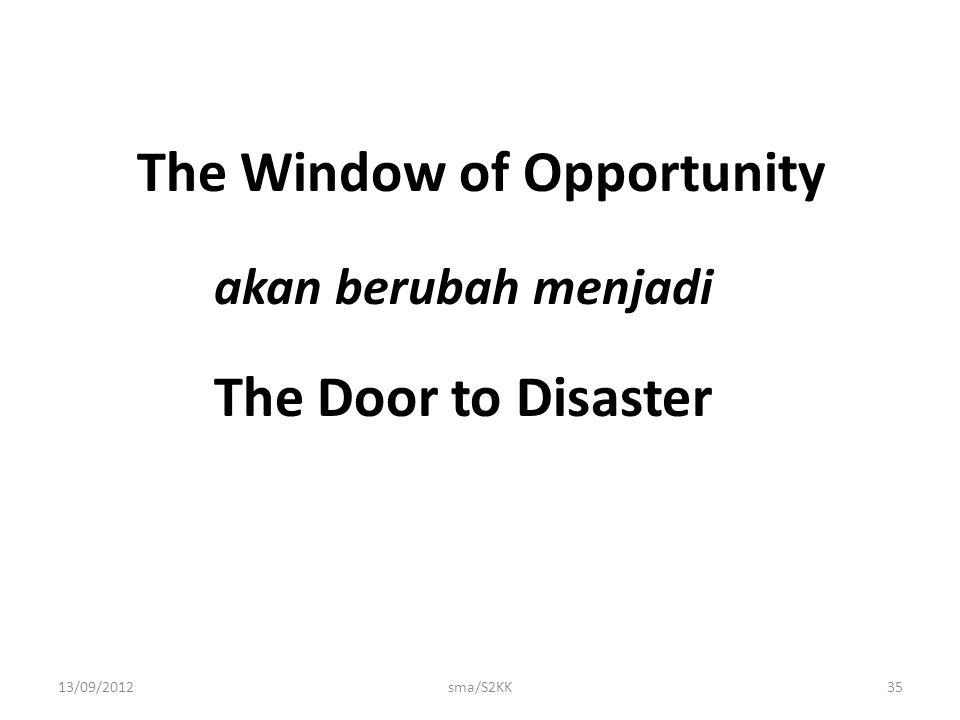 13/09/2012sma/S2KK35 The Window of Opportunity akan berubah menjadi The Door to Disaster