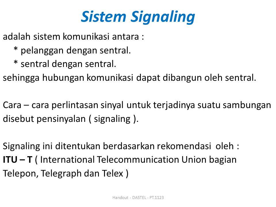 Sistem Signaling adalah sistem komunikasi antara : * pelanggan dengan sentral. * sentral dengan sentral. sehingga hubungan komunikasi dapat dibangun o
