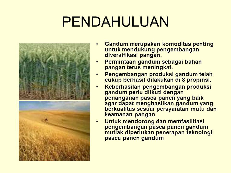 PENDAHULUAN Gandum merupakan komoditas penting untuk mendukung pengembangan diversifikasi pangan. Permintaan gandum sebagai bahan pangan terus meningk