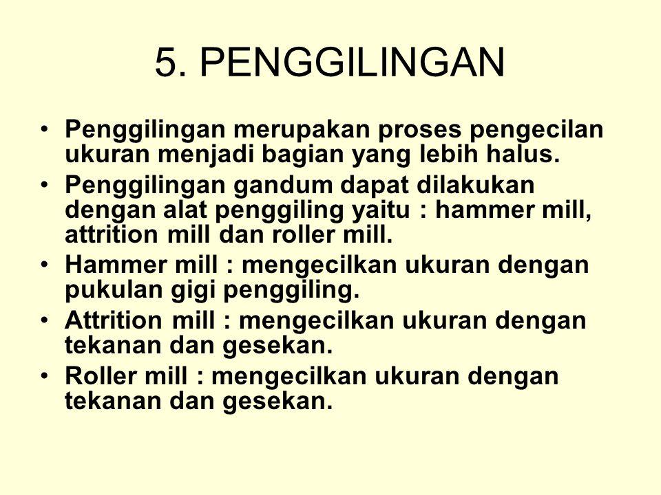 5. PENGGILINGAN Penggilingan merupakan proses pengecilan ukuran menjadi bagian yang lebih halus. Penggilingan gandum dapat dilakukan dengan alat pengg