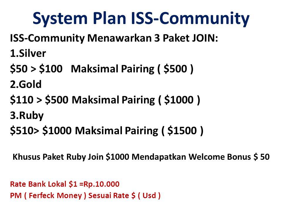 System Plan ISS-Community ISS-Community Menawarkan 3 Paket JOIN: 1.Silver $50 > $100 Maksimal Pairing ( $500 ) 2.Gold $110 > $500 Maksimal Pairing ( $