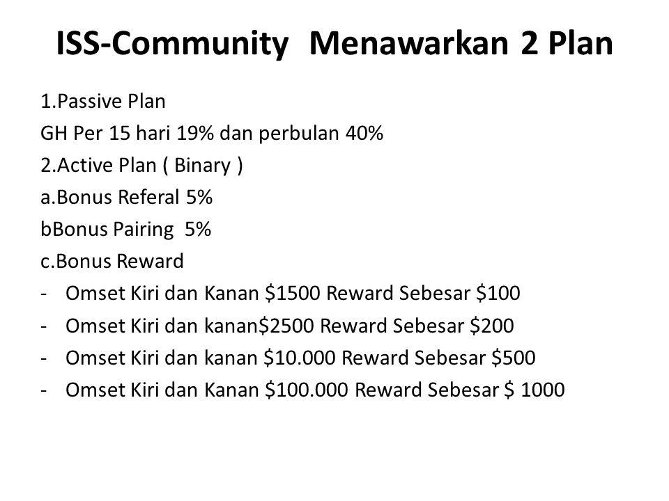 ISS-Community Menawarkan 2 Plan 1.Passive Plan GH Per 15 hari 19% dan perbulan 40% 2.Active Plan ( Binary ) a.Bonus Referal 5% bBonus Pairing 5% c.Bon