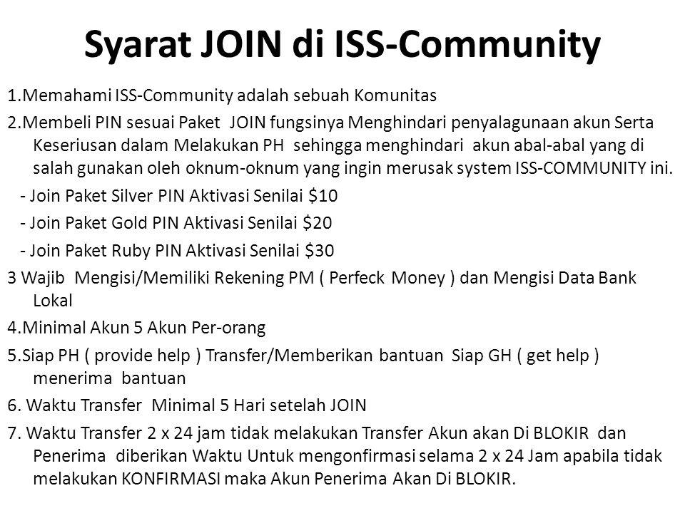 Syarat JOIN di ISS-Community 1.Memahami ISS-Community adalah sebuah Komunitas 2.Membeli PIN sesuai Paket JOIN fungsinya Menghindari penyalagunaan akun