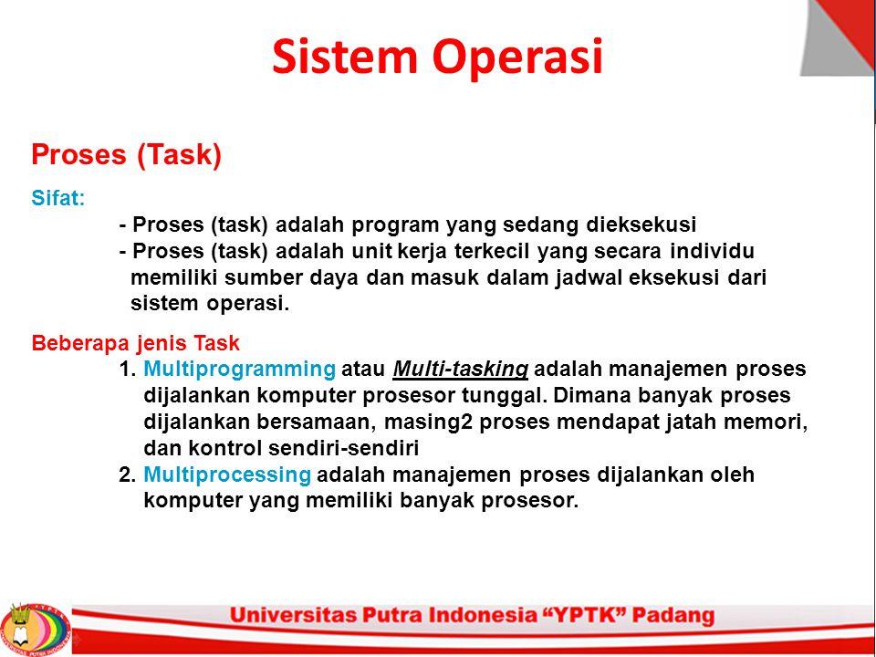 Sistem Operasi Proses (Task) Sifat: - Proses (task) adalah program yang sedang dieksekusi - Proses (task) adalah unit kerja terkecil yang secara individu memiliki sumber daya dan masuk dalam jadwal eksekusi dari sistem operasi.