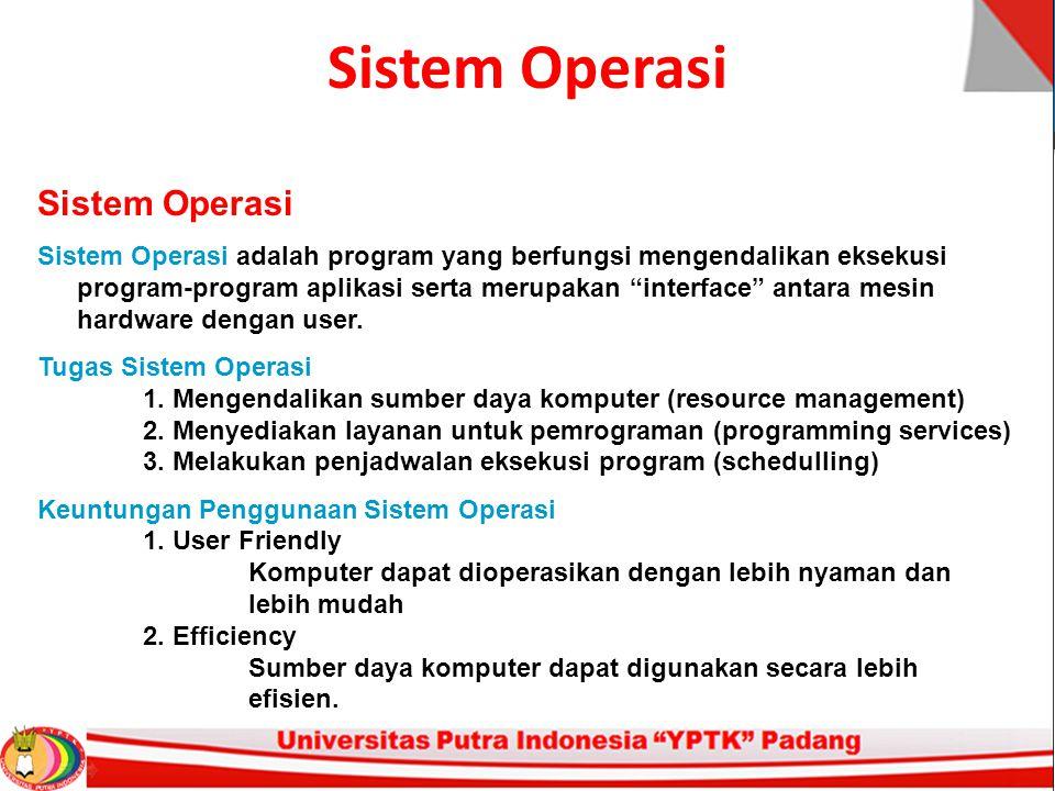 Sistem Operasi Sistem Operasi adalah program yang berfungsi mengendalikan eksekusi program-program aplikasi serta merupakan interface antara mesin hardware dengan user.