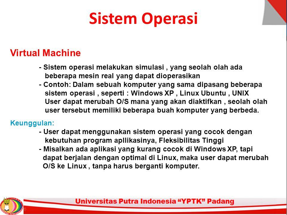 Sistem Operasi Virtual Machine - Sistem operasi melakukan simulasi, yang seolah olah ada beberapa mesin real yang dapat dioperasikan - Contoh: Dalam sebuah komputer yang sama dipasang beberapa sistem operasi, seperti : Windows XP, Linux Ubuntu, UNIX User dapat merubah O/S mana yang akan diaktifkan, seolah olah user tersebut memiliki beberapa buah komputer yang berbeda.