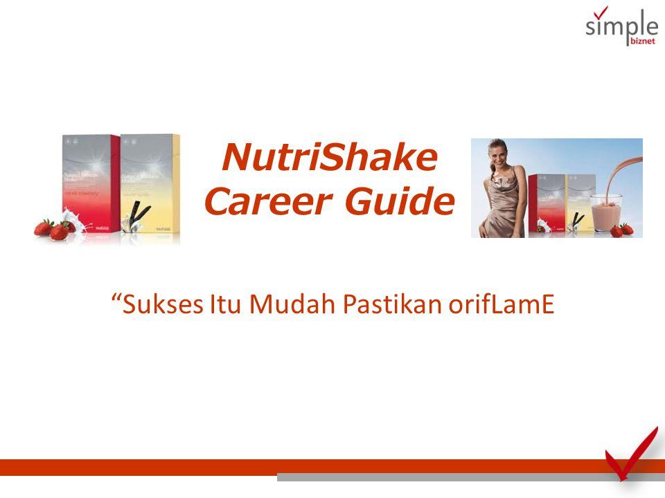 NutriShake Career Guide Step 1: Menjual NutriShake Step 2: Mengadakan NutriShake Meeting Step 3: Memulai Grup Penurunan Berat Badan Step 4: Menduplikasikan NutriShake Career