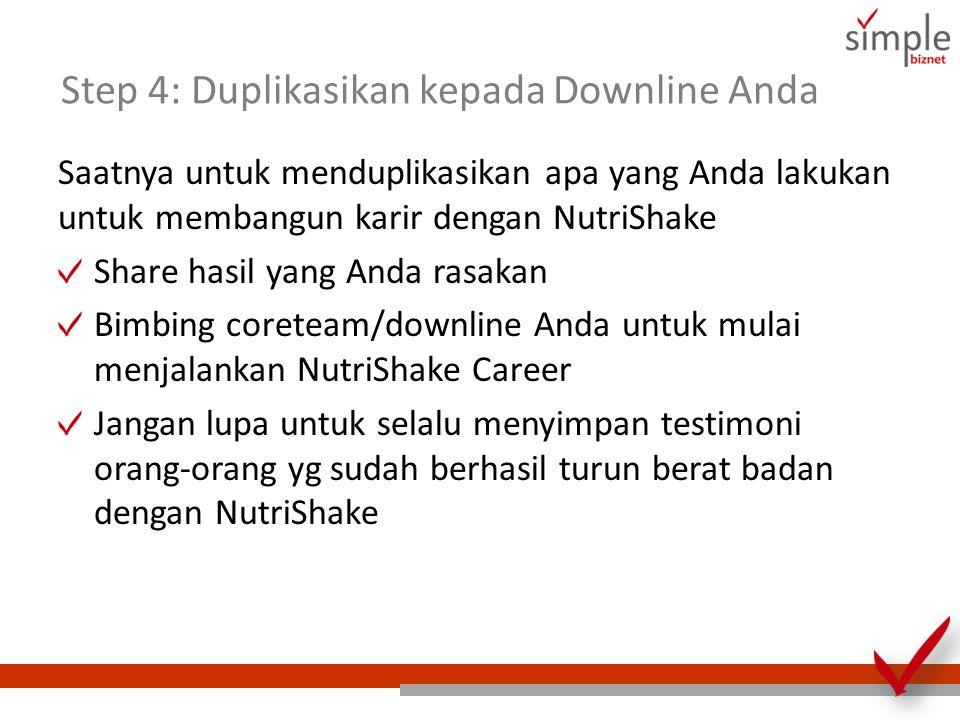 Step 4: Duplikasikan kepada Downline Anda Saatnya untuk menduplikasikan apa yang Anda lakukan untuk membangun karir dengan NutriShake Share hasil yang