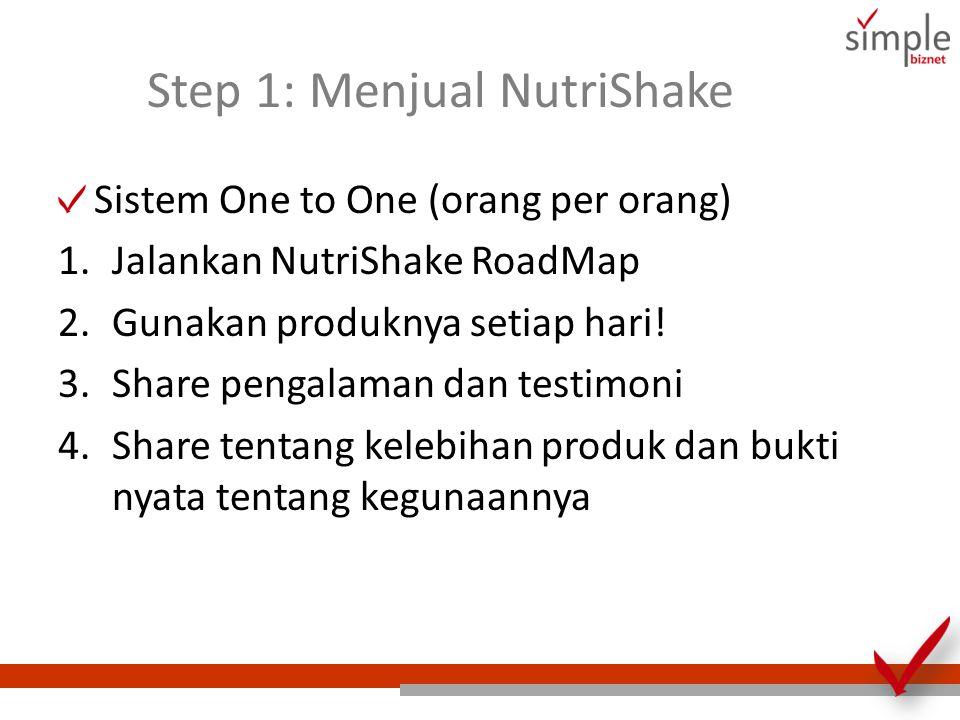 Step 1: Menjual NutriShake Sistem One to One (orang per orang) 1.Jalankan NutriShake RoadMap 2.Gunakan produknya setiap hari! 3.Share pengalaman dan t