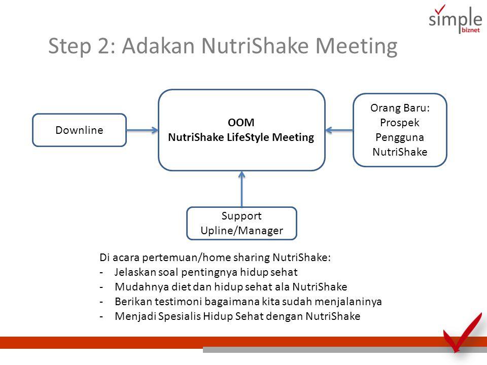 Step 2: Adakan NutriShake Meeting OOM NutriShake LifeStyle Meeting Downline Orang Baru: Prospek Pengguna NutriShake Support Upline/Manager Di acara pe