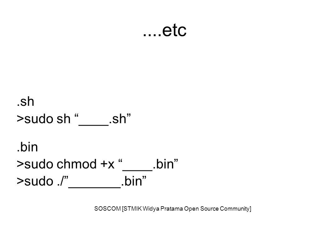 ....etc.sh >sudo sh ____.sh .bin >sudo chmod +x ____.bin >sudo./ _______.bin SOSCOM [STMIK Widya Pratama Open Source Community]