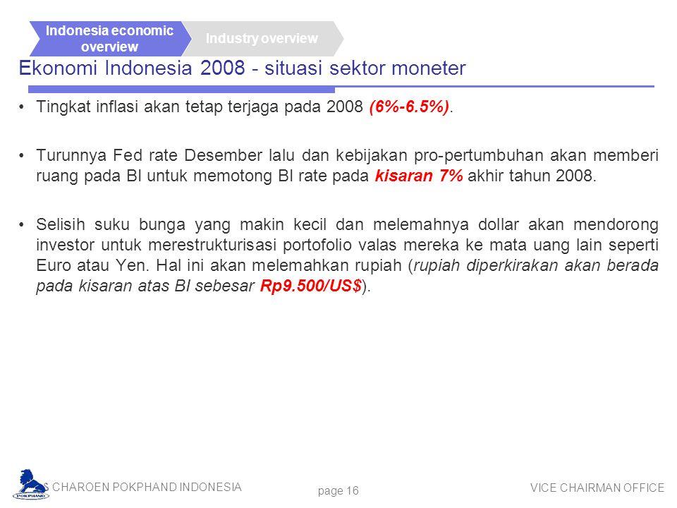 CHAROEN POKPHAND INDONESIA VICE CHAIRMAN OFFICE page 16 Ekonomi Indonesia 2008 - situasi sektor moneter Tingkat inflasi akan tetap terjaga pada 2008 (6%-6.5%).