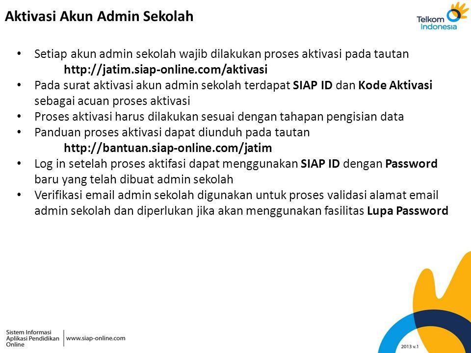 Aktivasi Akun Admin Sekolah Setiap akun admin sekolah wajib dilakukan proses aktivasi pada tautan http://jatim.siap-online.com/aktivasi Pada surat akt