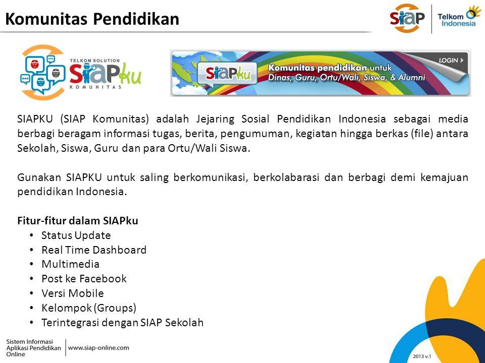 Komunitas Pendidikan SIAPKU (SIAP Komunitas) adalah Jejaring Sosial Pendidikan Indonesia sebagai media berbagi beragam informasi tugas, berita, pengum