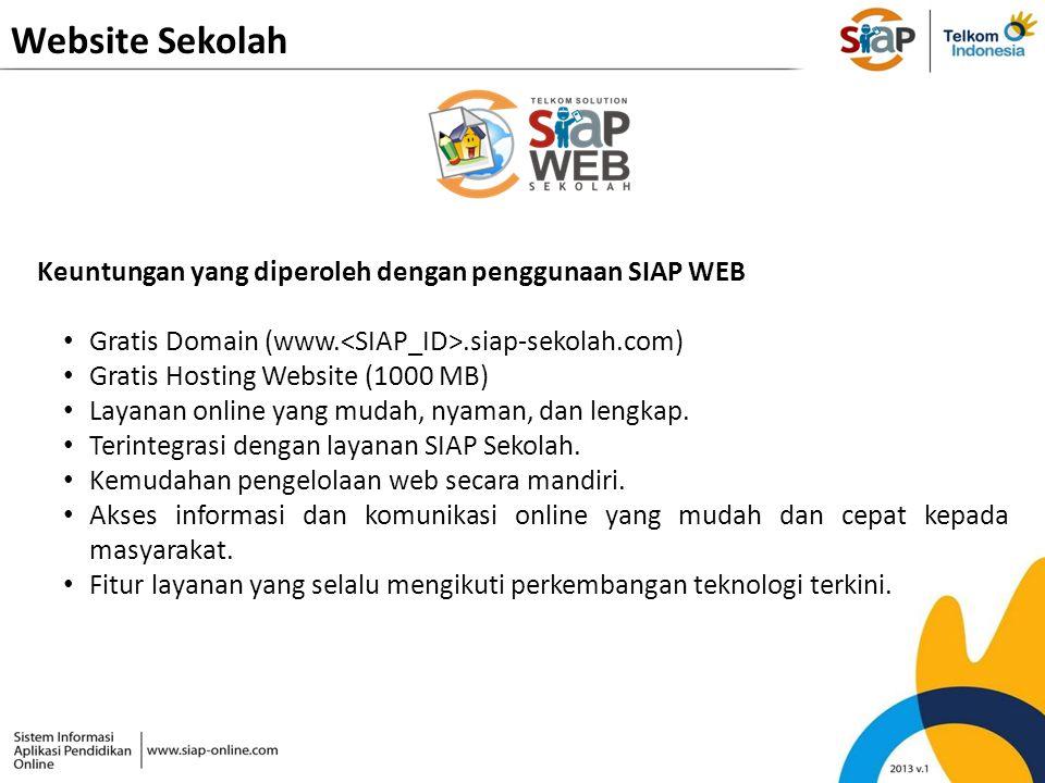 Website Sekolah Keuntungan yang diperoleh dengan penggunaan SIAP WEB Gratis Domain (www..siap-sekolah.com) Gratis Hosting Website (1000 MB) Layanan on