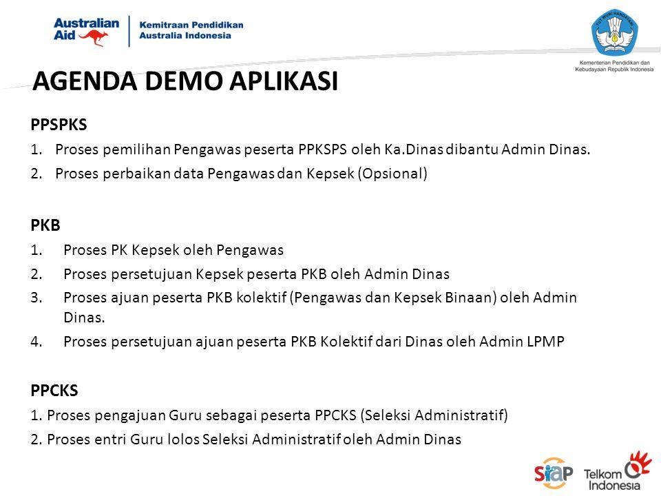 AGENDA DEMO APLIKASI PPSPKS 1.Proses pemilihan Pengawas peserta PPKSPS oleh Ka.Dinas dibantu Admin Dinas. 2.Proses perbaikan data Pengawas dan Kepsek