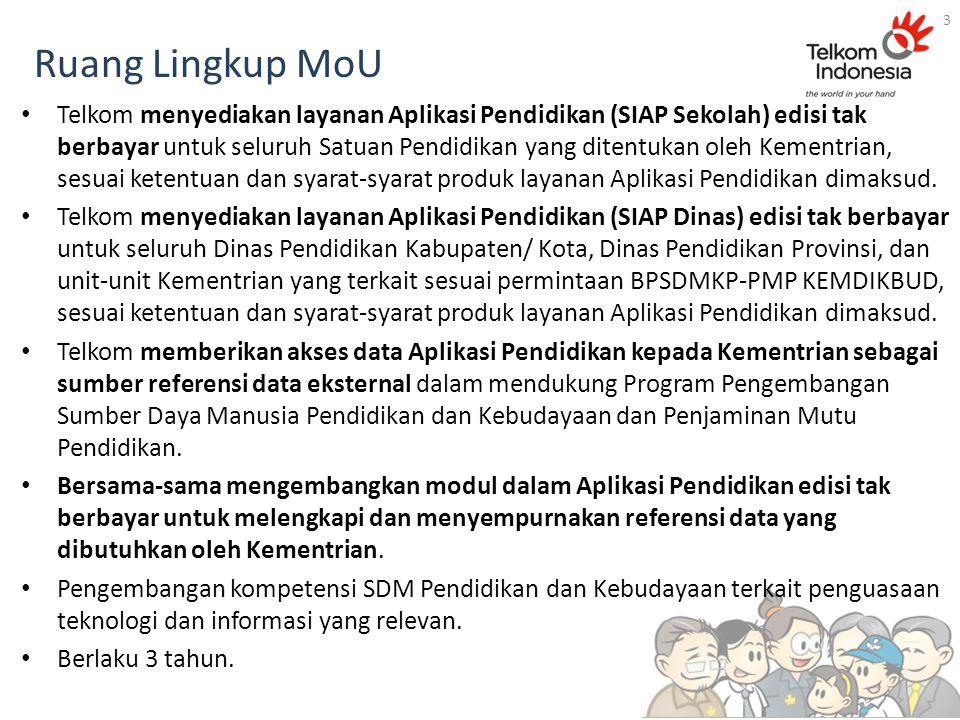 Ruang Lingkup MoU Telkom menyediakan layanan Aplikasi Pendidikan (SIAP Sekolah) edisi tak berbayar untuk seluruh Satuan Pendidikan yang ditentukan ole