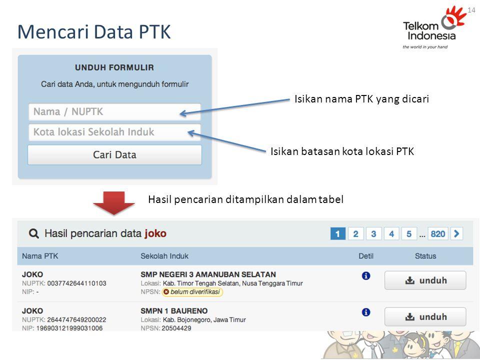 Mencari Data PTK 14 Isikan nama PTK yang dicari Isikan batasan kota lokasi PTK Hasil pencarian ditampilkan dalam tabel