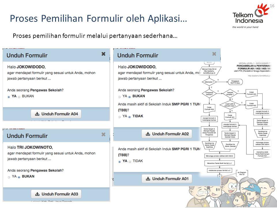 Proses Pemilihan Formulir oleh Aplikasi… 16 Proses pemilihan formulir melalui pertanyaan sederhana…
