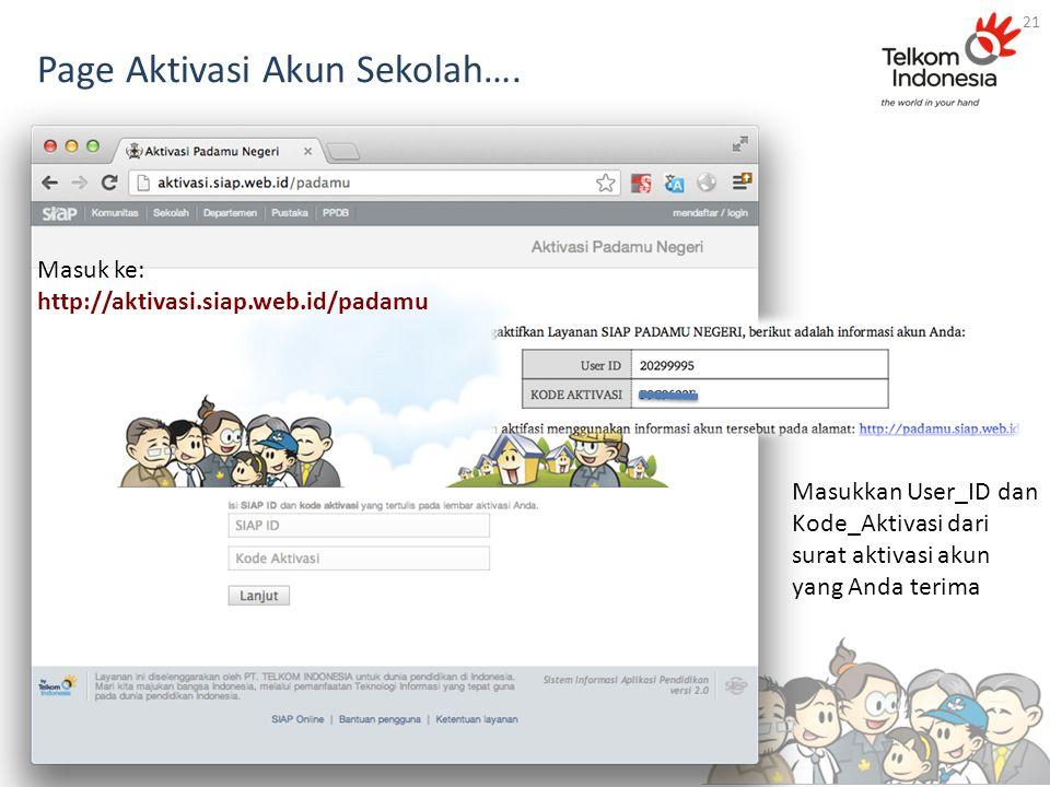 Page Aktivasi Akun Sekolah….