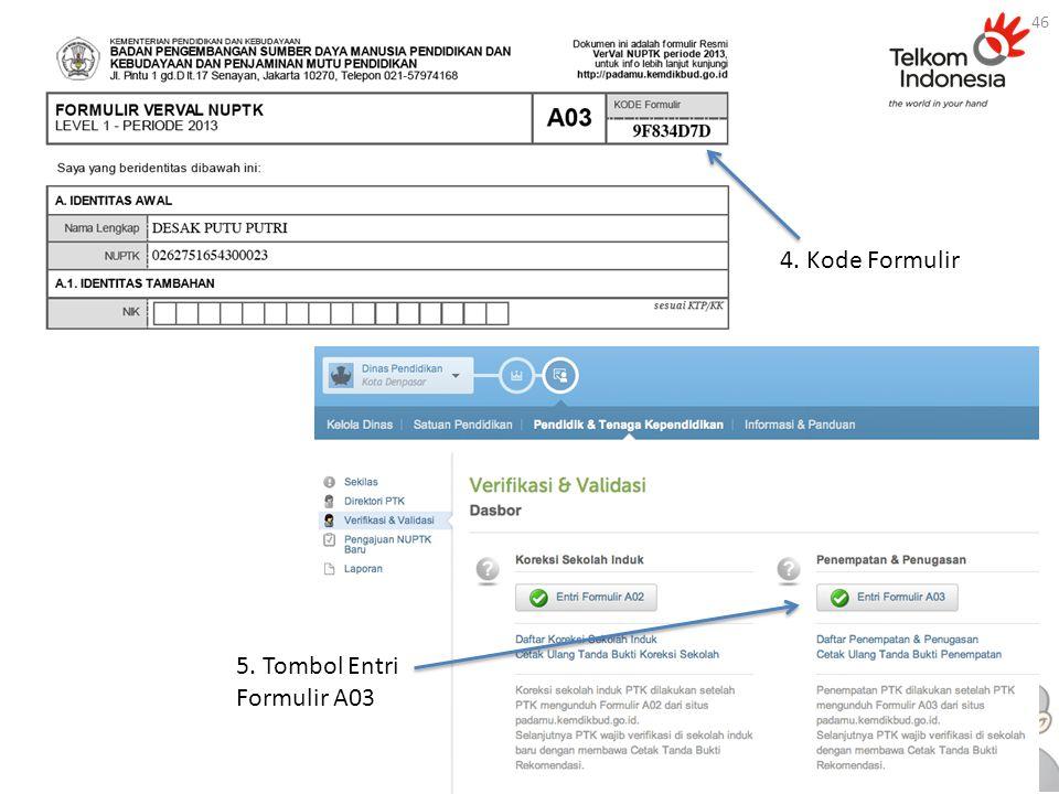 4. Kode Formulir 5. Tombol Entri Formulir A03 46