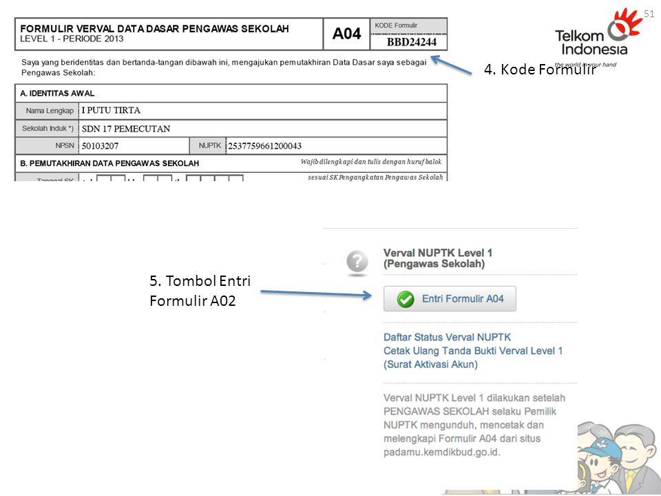 4. Kode Formulir 5. Tombol Entri Formulir A02 51