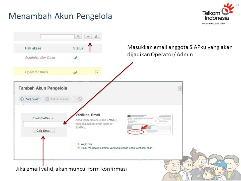Menambah Akun Pengelola 69 Masukkan email anggota SIAPku yang akan dijadikan Operator/ Admin Jika email valid, akan muncul form konfirmasi