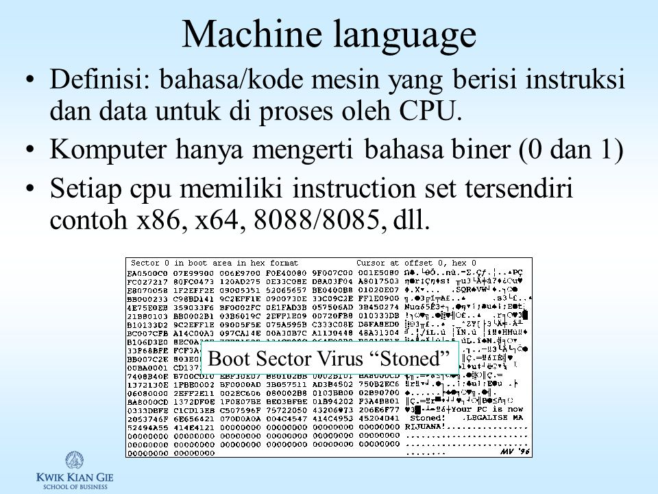 Tingkatan bahasa pemgrograman Tingkatan bahasa tergantung dari berapa dekat bahasa tersebut dengan bahasa komputer (binary) atau ke bahasa yang digunakan manusia Terdiri dari lima generasi (tingkatan) 1.Machine language 2.Assembly languages 3.High-level languages 4.Very high-level languages 5.Natural languages